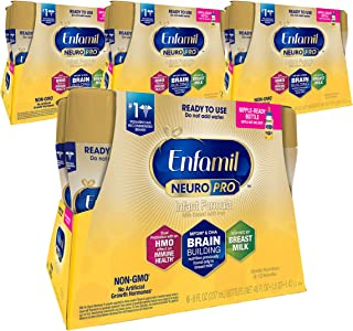 Enfamil NeuroPro Ready to Feed Baby Formula, Ready to Use, Brain and Immune Support with DHA, Iron and Prebiotics, Non-GMO, 8 Fl Oz (6 count) (Pack of 4), Total 24 bottles, 192 Oz
