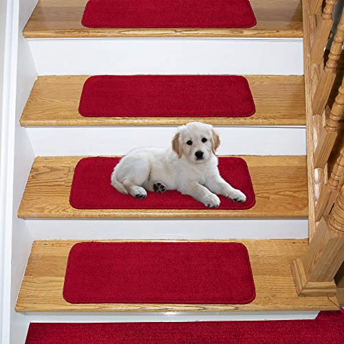 Ottomanson Comfort Collection Soft Solid (Non-Slip) Plush Carpet Stair Treads, 7