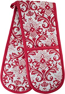 Smart Home, Traditional, Pretty Red, 1 Piece, Long Double Oven Mitts Gloves, Heat Resistant, 100% Cotton, Extra Thick, Quilted