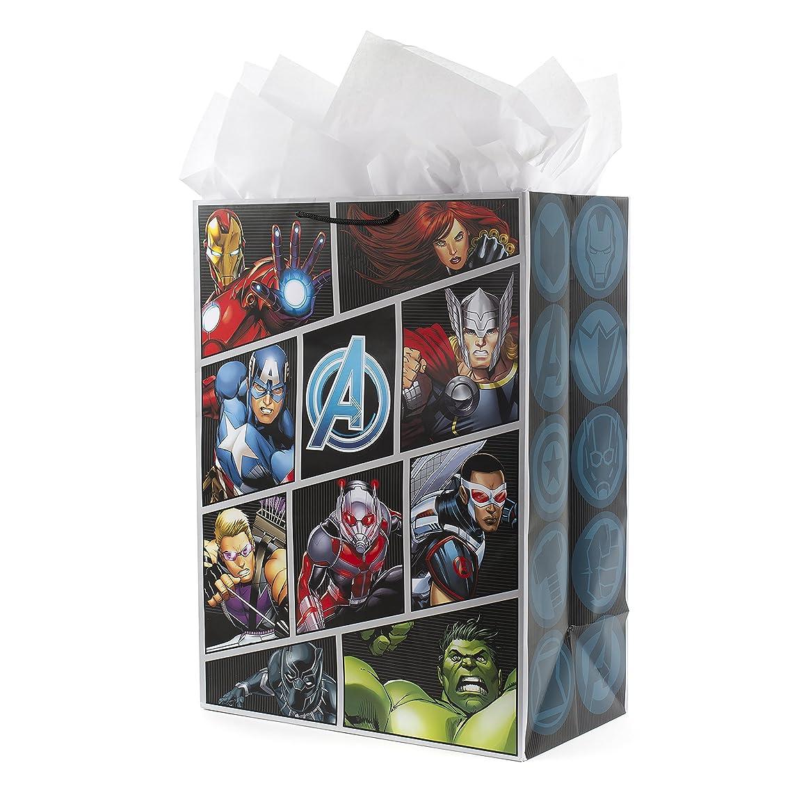 Hallmark Oversized Avengers Gift Bag with Tissue Paper (Superhero Logos)