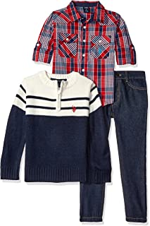 Boys' Plaid Sport Shirt, 1/4 Zip Mock Neck Collar Color Blocked Sweater and Denim Jean