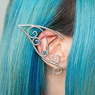 Noirin ear cuff orecchini elfici in acciaio inossidabile argento con pietre