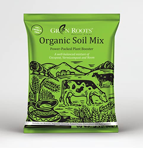 Green Roots Organic Potting Soil Mix with Cocopeat, Vermicompost, Neem Granule, Plant Manure/Khad