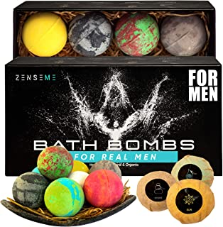 Bath Bombs for Men, Gift Set of 8 Scented Organic Handmade Bath Bombs of 2.5 oz with Natural Essential Oils. Perfect for Boyfriend, Husband, Father or Friend, by ZenseMe