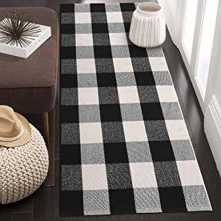 KIMODE Cotton Plaid Rug Black/White Hand-Woven Buffalo Checkered Floor Mats 24'' x 51'', Washable Carpet for Porch Doormat Kitchen Rugs