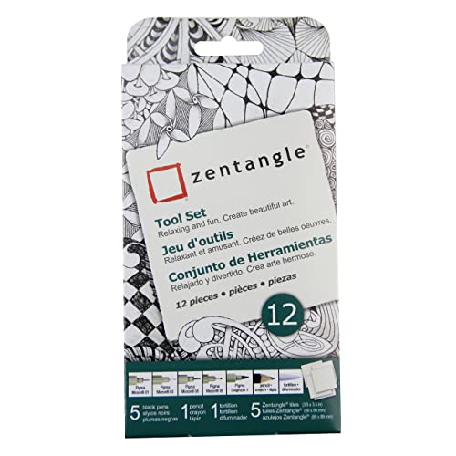 Sakura 50110 Zentangle 12 Pc Set W 35 White Tiles