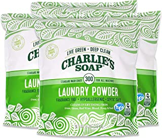 Charlie's Soap Charlies Soap Laundry Powder (300 Loads, 4 Pack) Hypoallergenic Deep Cleaning Washing Powder Detergent Eco-...