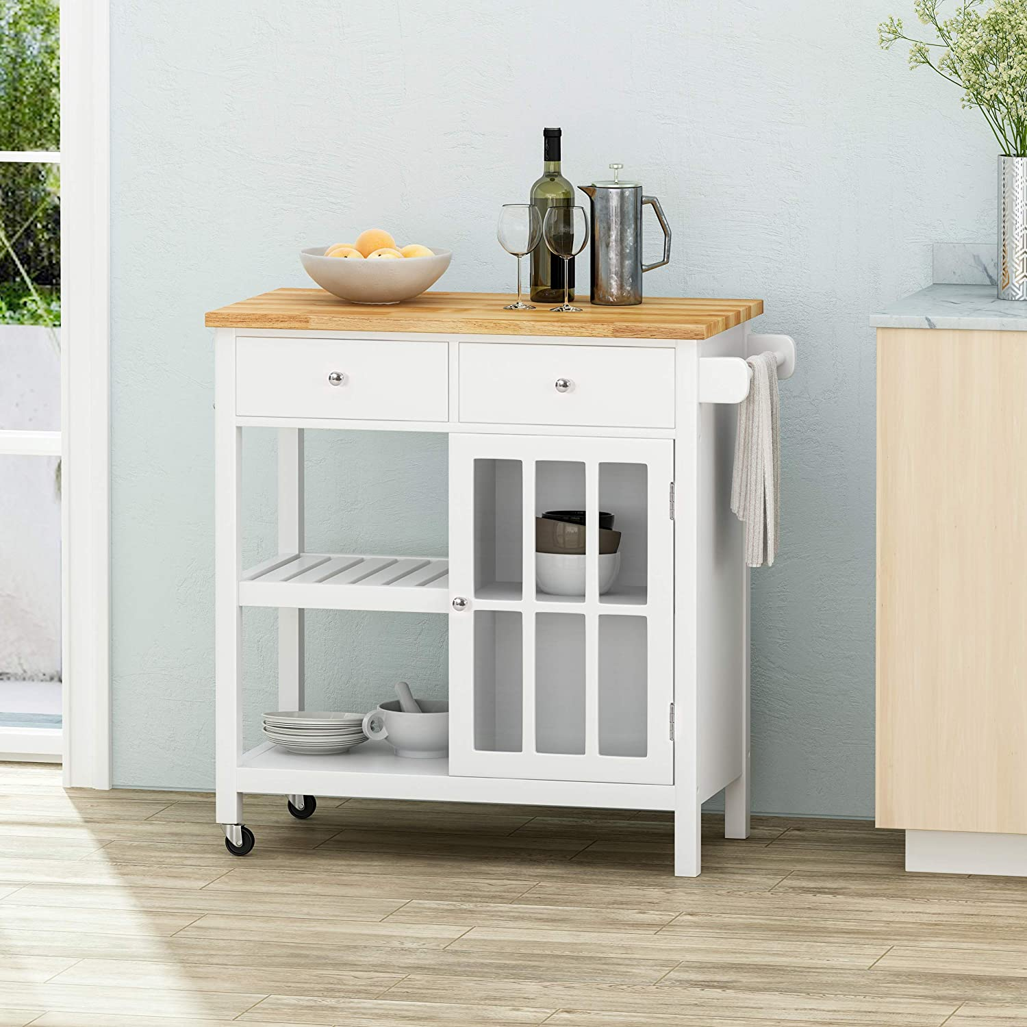 Black and Natural Christopher Knight Home Spark Contemporary Kitchen Cart with Wheels