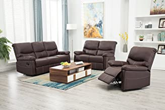 FDW Recliner Sofa PU Leather Set 3 PCS Motion Sofa Loveseat Recliner Sofa Recliner Couch Manual Reclining Chair 3 Seater for Living Room (Brown)