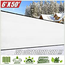 ColourTree 6' x 50' White Fence Privacy Screen Windscreen Cover Fabric Shade Tarp Netting Mesh Cloth - Commercial Grade 170 GSM - Heavy Duty - 3 Years Warranty - We Make Custom Size