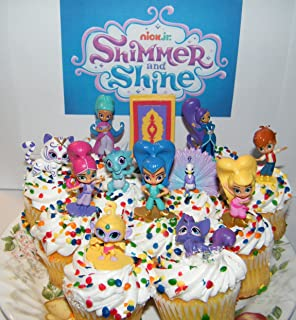 Nickelodeon Shimmer and Shine Deluxe Mini Cake Toppers Cupcake Decorations Set of 17 with Figures and