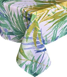 Newbridge Lani Tropical Palms Indoor/Outdoor Fabric Tablecloth - Coastal Blue and Green Palm Leaf Soil Resistant, Water Repellent Fabric Tablecloth, 70 Inch Round