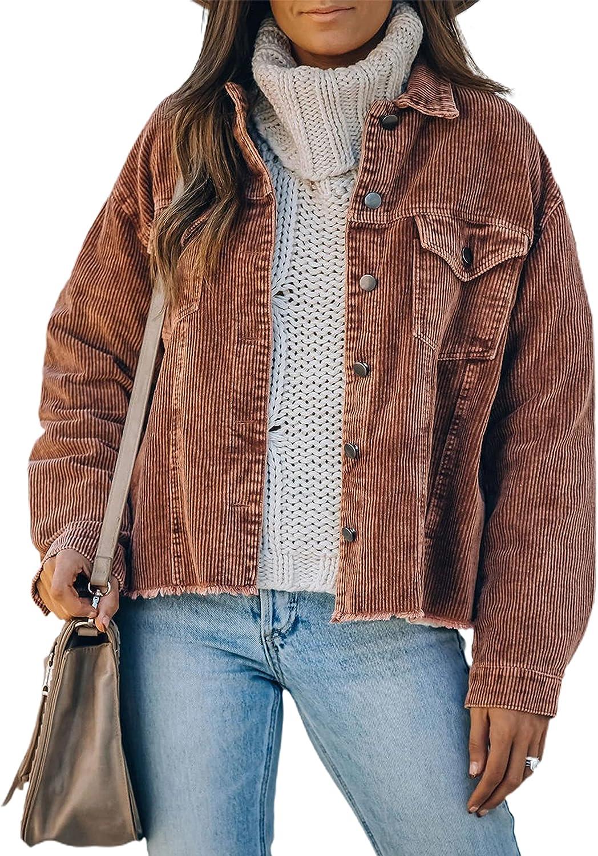 Yeokou Women's Casual Loose Corduroy Button Down Shirts Jacket Washed Retro Shacket Outwear Coat
