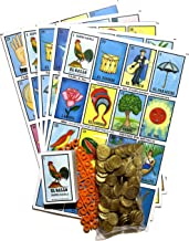 Loteria Mexicana Family Mexican Bingo Game 20 Jumbo Boards with Playing Cards, 80 Chips and 100 Plastic Coins Bag Bundle