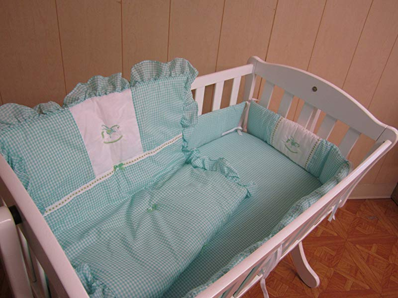 Baby Doll Bedding Gingham With Rocking Horse Applique Cradle Bedding Set Mint