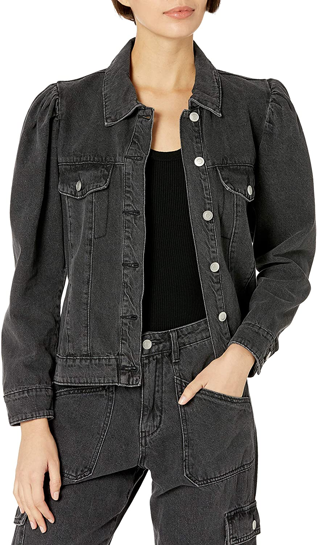 KENDALL + KYLIE Women's Puff Sleeve Exclus Jacket Denim セール特価品 人気上昇中 Amazon -