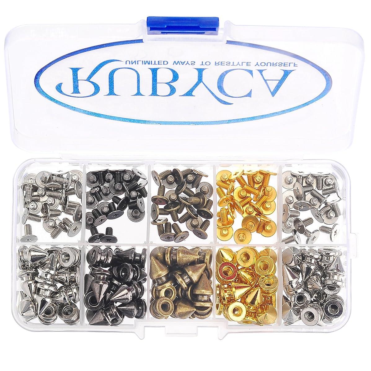 RUBYCA 12MM 100 Sets Metal Tree Spikes and Studs Metallic Screw-Back DIY Kit Leathercraft Mix Colors