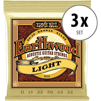 3x Set Ernie Ball 2004 Earthwood Light 80//20 Akustik Gitarre Saiten Western Satz