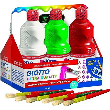 Giotto 534600 Tempera Pronta Qualità Extra, 6 Flacone da 1L