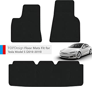 TOPDesign Hand-Stitched Carpet Car Floor Mats for Tesla Model S 2016 2017 2018 2019 Custom Fit Auto Liners Heavy Duty Floor Protection (Black and Black Color Double Sewing Binding)