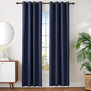 AmazonBasics Room Darkening Blackout Window Curtains with Grommets Set, 42