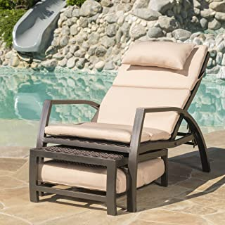 Christopher Knight Home Newmans | Outdoor Aluminum Lounge with Water Resistant Cushion | in Dark Brown/Tan