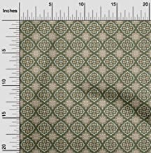 oneOone Velvet Olive Green Fabric Floral & Tiles Moroccan Sewing Material Print Fabric by The Yard 58 Inch Wide