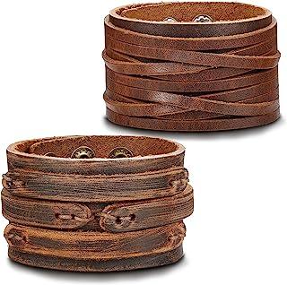 b1a74d4c613de5 Thunaraz Handmade Genuine Leather Bracelet Adjustable Wide Brown Belt Cuff  Bangle Punk Wristband