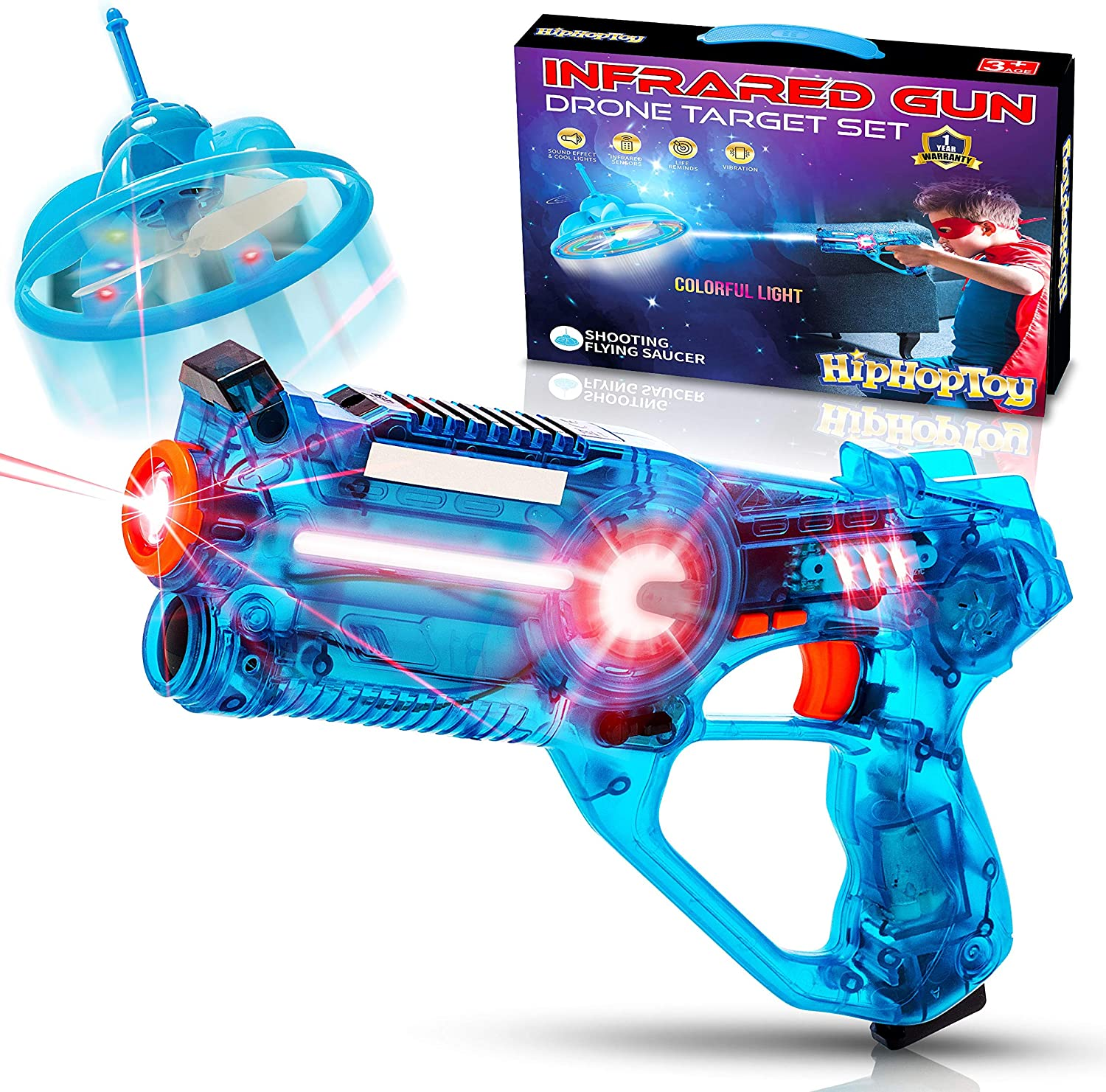 HIPHOPTOY Kids Laser Tag Gun Game with Flying Toy Drone Target, Infrared Lazer Shooting Game for Children with Fun LED Effects, Sounds, and 4 Gun Modes, Best Gift for Boys Ages 5 6 7 8 9 10 (Set of 1)