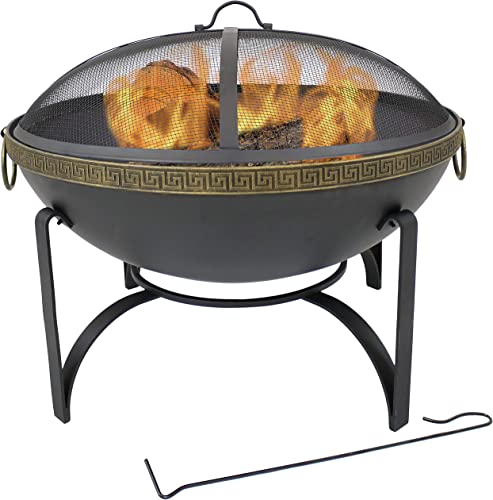 high quality Sunnydaze 26-Inch Diameter Contemporary Steel Outdoor Wood Burning Fire Bowl with 2021 Handles and Spark Screen 2021 - Outside Metal Backyard Bonfire Patio Fire Pit online sale