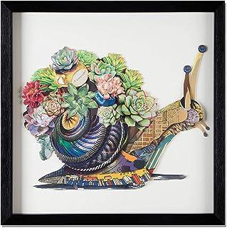 ADM - Caracol con flores - Cuadro con efecto 3D realizado con técnica de collage, enmarcado y protegido por un cristal fro...