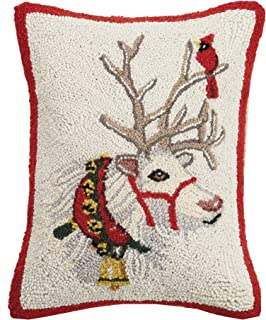 Mary Lake Thompson Reindeer with Cardinal Hook, 14x18 Holiday Pillow