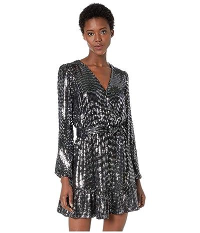 MICHAEL Michael Kors Mirror Dot Crossover Dress (Black/Silver) Women