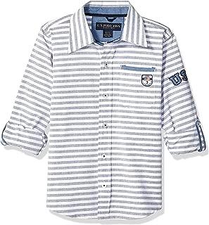 Boys' Long Sleeve Printed Chambray Sport Shirt