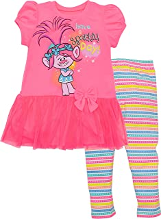 Trolls Poppy Girls' Long-Sleeve Fashion T-Shirt & Leggings Outfit 2-Piece Set