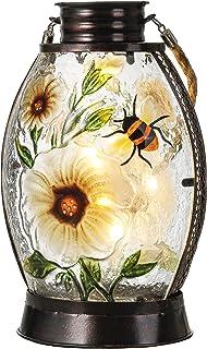 TERESA'S COLLECTIONS 10 inch Decorative Hanging Solar Lanterns, Flower Garden Solar Lights Decor, Tulip Garden Statues wit...
