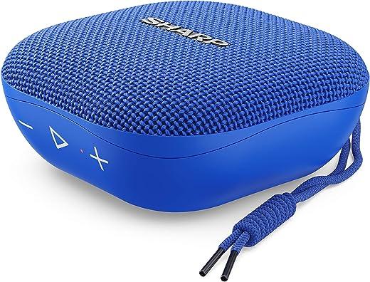 Sharp GX-BT60 (BL) Altoparlante portatile Bluetooth 20 ore di riproduzione, resistente agli spruzzi d'acqua/microfono per telefonate, Google & Siri, colore: Blu