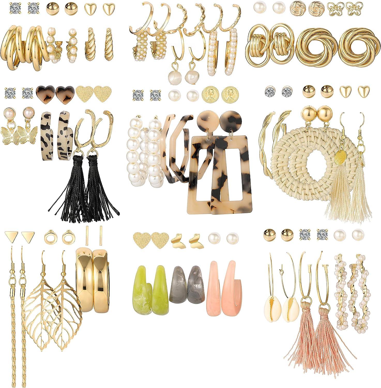 Fashion Drop Dangle Earrings Set for Women, 53 Pairs Boho Tassel Acrylic Earring, Gold Twist Hoop Earrings for Birthday Party Gift