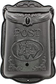 Lockable Wall Mounted Mailbox Cast Iron Vintage Residential Mail Box Classic Design Heavy Duty Weatherproof Letter Box