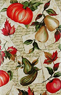 """Autumn Harvest Fruits and Foliage Vinyl Flannel Back Tablecloth 52"""" x 70"""" Oblong Multi 43397-13008"""