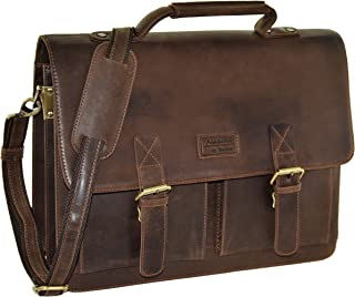 "Menzo Lederaccessoires ""Oxford"" Buffalo Vintage Leder, Lederaktentasche, Umhängetasche, Messengerbag, Businesstasche, Lehrertasche, Überschlagtasche, Notebooktasche"