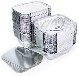Lote de 100 bandejas de aluminio desechables con tapa para transportar alimentos, congelar, cocinar (250 ml)
