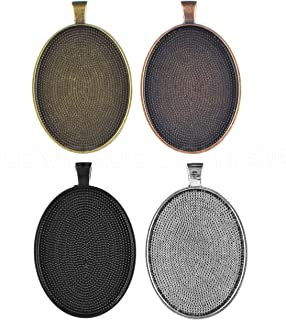 20 Pack - CleverDelights 30x40mm Oval Pendant Trays - Mix Pack - Copper Bronze Silver Black