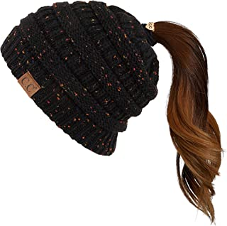 C.C Ribbed Confetti Knit Beanie Tail Hat for Adult Bundle Hair Tie (MB-33)