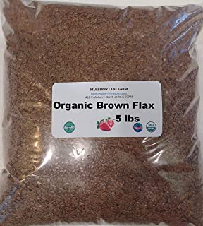Brown Flax Seed 5 Pounds (Flaxseed) Whole, Raw, USDA Certified Organic, Non-GMO, Packed Bulk