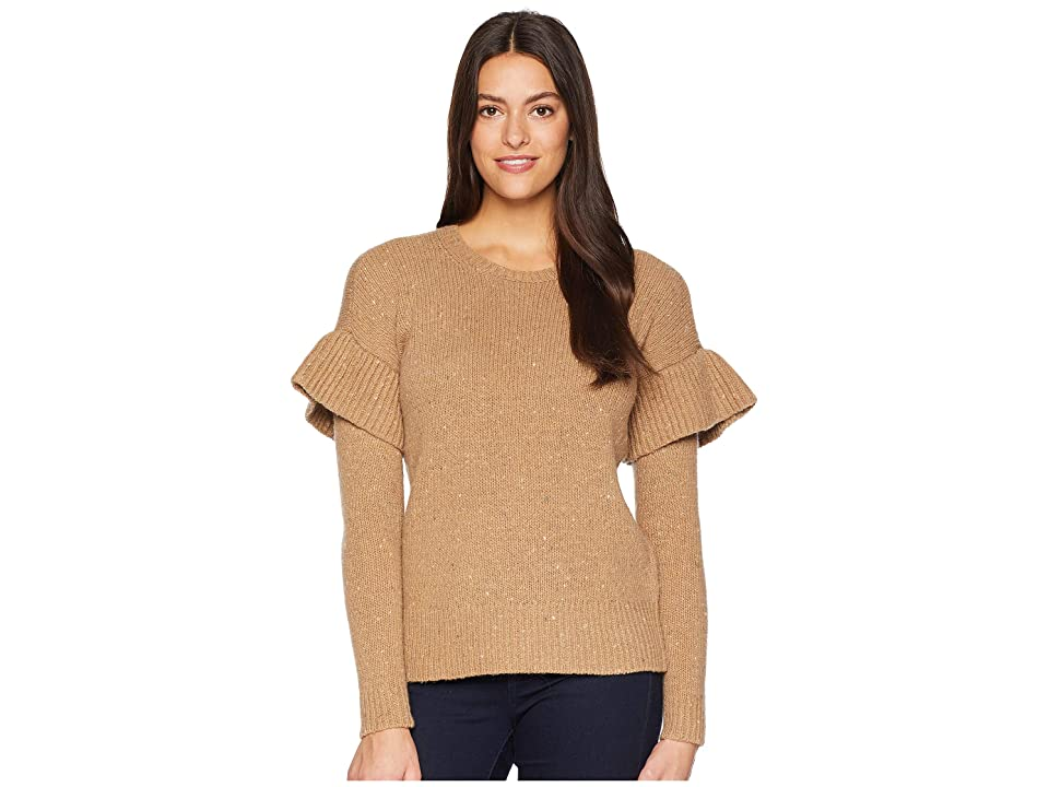 a5d7baf553abe6 LAUREN Ralph Lauren Ruffled Wool-Blend Sweater (Classic Camel Multi)  Women s Sweater
