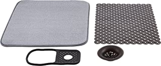 AmazonBasics Sink Set Bundle, with Drying Mat, Drain Stopper, Sink Liner and Sink Caddy