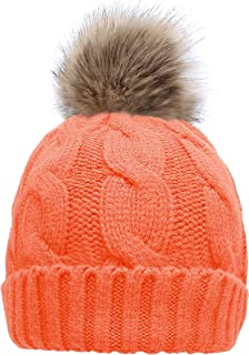 0d1b8df3ecb NEOSAN Women s Winter Ribbed Knit Faux Fur Pompoms Chunky Lined Beanie Hats