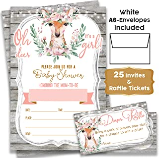 Oh Deer! Boho Floral - Woodland Baby Shower Invitations Girl Pink Rustic with Envelopes and Diaper Raffle Tickets. (25) Fill in The Blank Style Invites with Envelopes - Baby Shower Invitations Girl