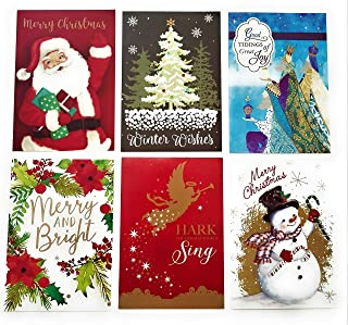 Christmas Holiday Boxed Cards - Xmas Box Set Assortment of Traditional Designs - 36 Count With Envelopes And Sentiment